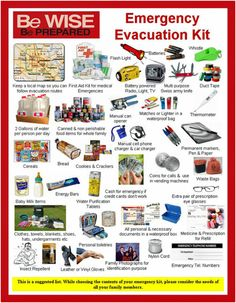RED CROSS: suggested Emergency Evacuation Kit This is a suggest list: While choosing the contents of your emergency kit, consider the needs of all your family members. Emergency Radio, Emergency Preparedness Kit, Emergency Preparation, Survival Prepping, Survival Skills, Survival Gear, Survival Hacks, Survival Quotes, Emergency Bag
