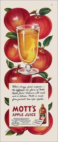 Mott's Apple Juice ad, 1947. #vintage #1940s #food #ads
