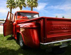 Love this red 1955 Chevy Pickup Truck. 1955 Chevy, 1955 Chevrolet, Chevrolet Trucks, Chevy Pickup Trucks, Chevy Pickups, Slammed Cars, Truck Paint, Drag Cars, Kustom
