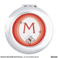 Modern Butterfly Red Circles #Monogram Compact Mirrors for the young fashionable teen Christmas gift.