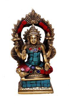 Indian Religious Gift Goddess Lakshmi with Turquoise Gemstone Brass Idol Sculpture Statue Kali Statue, Saraswati Statue, Lord Shiva Statue, Krishna Statue, Brass Statues, Goddess Lakshmi, Engraved Gifts, Religious Gifts, Indian Gods