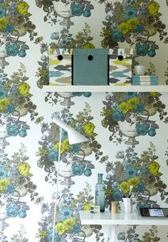 I love the mix of traditional pattern with bright, bold colours in this paper....Crown Wallpaper + Fabrics |Toronto