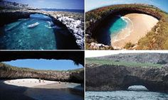 World's most idyllic bomb site: Hidden beach created by giant blast from Mexican government during... #DailyMail
