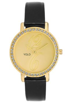 YOLO Women's Golden Dial Analog Wrist Watch with Black Leather Strap Is A Unique And Innovative Product In The Wrist Watches Market. This Amazing, Stylish Fashion Watch Has Arrived To Complement Your Look And Attitude.