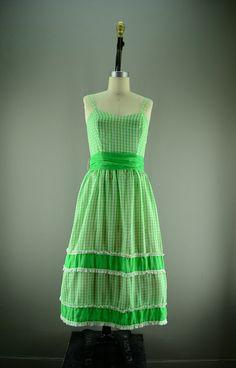 1960s gingham dress / Vintage summer dress / 60s mad by melsvanity, $58.00