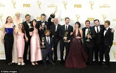 Big win, small audience: Game Of Thrones won the top honor of the night, taking away the award for Outstanding Drama Series; some of the cast are creative talent pictured here in the press room