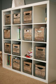 Vintage crates in ikea shelf