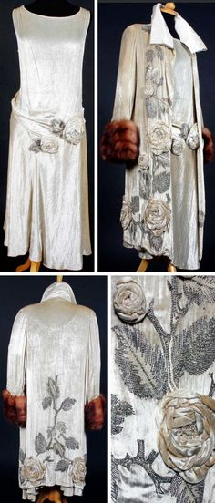 Dress and coat, Molyneux, ca. 1920s. Silk velvet with matching applied raised flower heads from some fabric amongst beaded foliage worked in diamante, bugle beads & faux pearls. Sleeveless dress decorated at dropped waist, with asymmetric hem. Coat trimmed in fur at cuffs and lined in cream silk satin crepe, with satin collar that has been reworked at some point. Bonham's by marlene