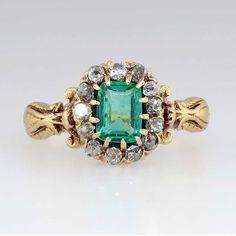 Elaborate Victorian Emerald Cut Emerald & by YourJewelryFinder, $1699.00