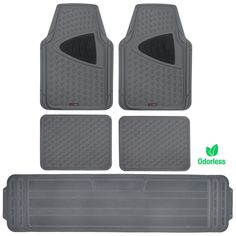 MotorTrend CleanRubber Series - 5pc Rubber Floor Mats with Liner 3 Row - Grid Pattern Gray Two Tone Inlay
