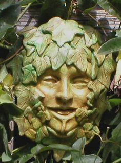 Green Man by Selena Anne Wells Sculpture Art, Sculptures, Holly King, Tree People, Tree Faces, Nature Spirits, Tree Carving, Woodland Creatures, Garden Art