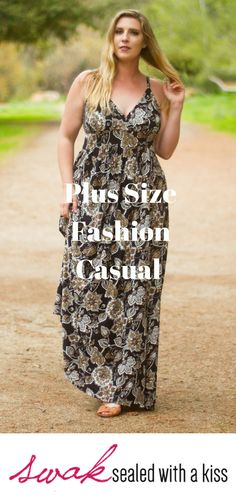 Plus Size Fashion Casual.A bold graphic vintage style floral print decorates this plus size maxi dress with an A-line silhouette that beautifully flows over your curves, and gives you enough room to move with ease. Plus Size Maxi Dresses, Plus Size Outfits, Casual Dresses, Plus Size Womens Clothing, Plus Size Fashion, Clothes For Women, Trendy Clothing, Size Clothing, Fall Fashion Outfits