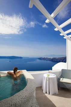 This will be our view from our second island stop on the honeymoon. So excited to wake up to this!!! Above Blue Suites | Santorini