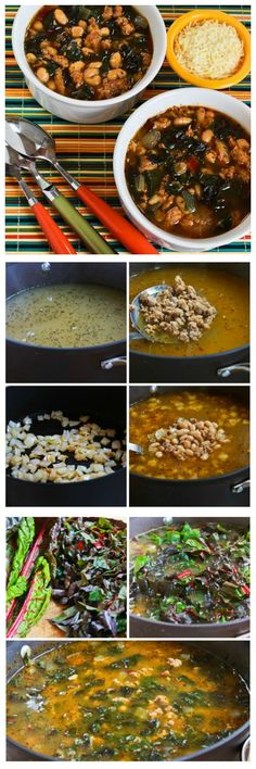 Italian Sausage and Bean Soup with Chard is delicious and full of healthy greens.  If Chard is not really your thing, use a different type of greens and this soup will still be fantastic.  [from KalynsKitchen.com]