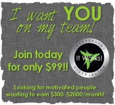 I want you on my team!!  It works distributors needed.  Need extra Money?? Unlimited earning potential. Contact me today.  totallywrappedbykelly@gmail.com or totallywrappedbykelly.com