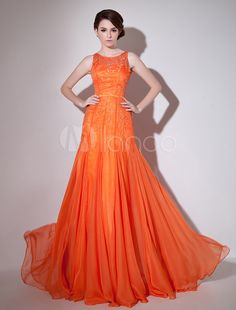 Orange Chiffon Floor-Length Embroidered Evening Dress