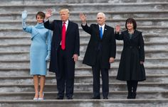 On Friday, Melania Trump wore a powder-blue cashmere dress and matching bolero jacket by Ralph Lauren as her husband, Donald J. Trump, was set to be sworn in as the 45th president of the United States.