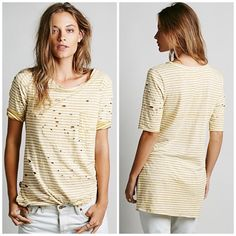 Free People Striped Pocket Tee Super cute and perfect layered under a denim jacket! Excellent pre worn condition. No trades!! 0516163500gwb Free People Tops Tees - Short Sleeve