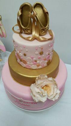 Ballerina ballet pink and gold girly 3 tier birthday cake