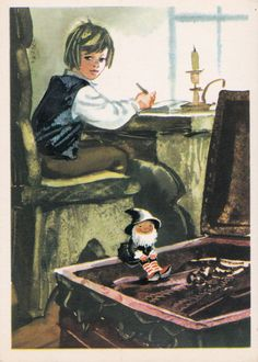 "Postcard Illustration by Kanevsky - Selma Lagerlof ""The Wonderful Adventures of Nils"" - 1975. Fine Arts, Moscow"