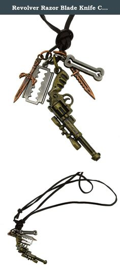 Revolver Razor Blade Knife Charm Faux Leather Necklace. This is a cool weapon necklace with various antiqued tone finishes. It can be worn by men, women, boys, or girls. It can also be a very unique graduation, anniversary, thank you, birthday, or Christmas gift to boys or men.