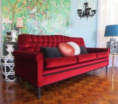 Vintage 1960s RASPBERRY RED VELVET SOFA 3 Seater LOUNGE For My Winter  Living Area .