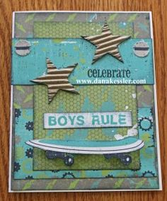 Fun and easy boy card using my scraps from the CTMH L8R Skater paper collection.  YAY!