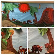 Pre-k students assisted in putting together this fun dinosaur themed bulletin board.