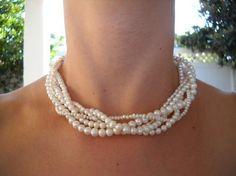 5 Strand Twisted Elegance White Freshwater by BoldRocksJewelry, $59.00