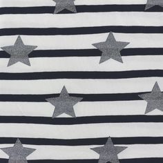 Tissu Jersey Rayé 10mm Étoile glitter - gris x 10 cm