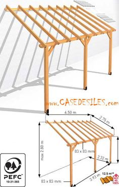 Adossant mc wooden terrace shelter Not expensive Whilst old in notion, the pergola Backyard Patio Designs, Backyard Landscaping, Outdoor Projects, Home Projects, Outdoor Spaces, Outdoor Living, Porch Roof, Porch Ceiling, Wooden Terrace