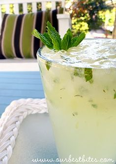 """Lime-Mint Spritzer {AKA The Virgin Mojito} from """"Our Best Bites"""" Blog. I made these for Saint Patricks Day Weekend (since it was almost 80 out and I didn't feel like beer) and they were amazing...of course they were even better with some captain!"""