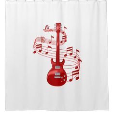 Red Electric Guitar With Music Notes Shower Curtain - shower curtains home decor custom idea personalize bathroom