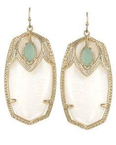 Kendra Scott Darby earrings in mother of pearl.