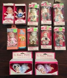 11-Vintage-Uneeda-BABY-Pee-Wee-Dolls-lot-Clowns-Fancy-Pants-Pigtails-In-Boxes Tiny Dolls, Fancy Pants, Clowns, Boxes, Kids, Baby, Vintage, Young Children, Crates