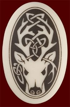 Celtic Stag Porcelain Necklace: Oval