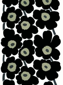 Marimekko Unikko Black / White Cotton Fabric The Unikko Marimekko poppy fabric in black displays black flowers with khaki green centers and dark chocolate stems. This popular poppy flower design was created by Maija Isola in (See the sec. Pvc Fabric, Cotton Fabric, Fabric Patterns, Print Patterns, Marimekko Fabric, Black Acrylics, Black Flowers, Green Cotton, White Cotton
