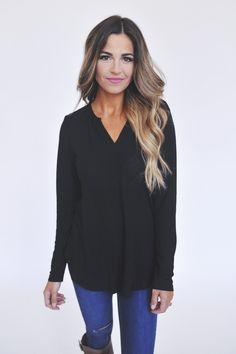 High Low V Neck Tunic- Black - Dottie Couture Boutique