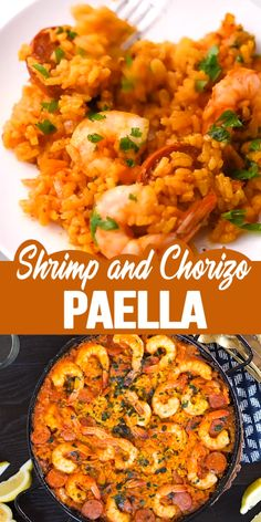 Spanish Rice Dish Paella Recipe ‐ This simple Shrimp and Chorizo Paella is easy to make, has classic paella ingredients with all Spanish flavors. Feed and impress a crowd with this paella recipe! mexican food recipes videos SHRIMP AND CHORIZO PAELLA Shrimp Recipes Easy, Easy Healthy Recipes, Seafood Recipes, Mexican Food Recipes, Appetizer Recipes, Chicken Recipes, Dinner Recipes, Easy Meals, Thai Prawn Recipes