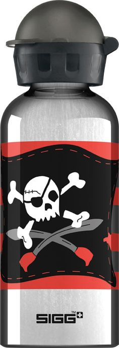 Pirate , Ideal for packing into your child's lunch box, this SIGG Pirate aluminum water bottle has a highly resistant lining, making it almost unbreakable! Sigg Bottles, Drink Bottles, School Snacks, School Lunch, Kid Lunches, Camping Water, Camping Gear, Pirate Kids, Aluminum Water Bottles