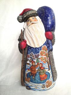 Unique Art Work Russian Wooden Hand Carved Painted Santa Fedoskino Style