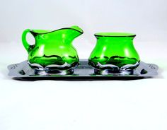 1940s Sugar & Creamer Set with Tray by Farber Brothers