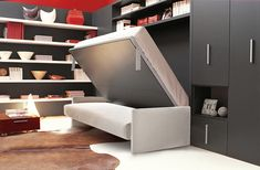 Murphy bed sofa unit with horizontally folding double bed