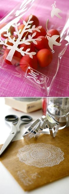 stamp on a cellophane bag - GREAT blog post on various ways to use a stamp
