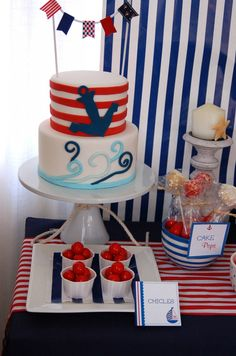 Nautical birthday party ideas: Lovely dessert table with a custom nautical… Nautical Birthday Cakes, Nautical Cake, Nautical Party, Boy Birthday Parties, Birthday Bash, Birthday Ideas, Party Fiesta, Baby Shower Cakes, First Birthdays