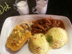 spiced rice with steak tarkari
