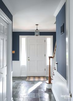 Painting my Entryway - Farrow & Ball Stiffkey Blue A look at my newly painted entryway. Color: Farrow and Ball Stiffkey Blue Dark Paint Colors, Room Paint Colors, Interior Paint Colors, Neutral Paint, Gray Paint, Paint Trim, Farrow Ball, Farrow And Ball Paint, Pitch Blue Farrow And Ball