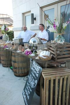 Buffet Tablescape using pallets and barrels