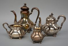 SOLD - EUROPEAN ART AUCTION JUNE 2014  A four-piece silver tea and coffee service, 13 lothige, probably Austrian, 2nd half of the 19th century.  The coffeepot bears a Wolfers mark, H coffeepot 24,5 cm, total weight 1700 gr.