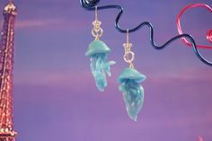 Jelly Fish Blue - Cute - Polymer clay Earrings silver sterling on Etsy, $10.79 AUD